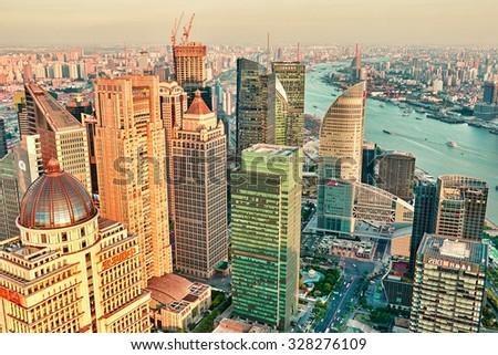 SHANGHAI, CHINA- MAY, 24, 2015: Beautiful skyscrapers, city building of Pudong, Shanghai, China. - stock photo