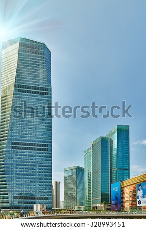 SHANGHAI, CHINA- MAY, 24, 2015: Skyscrapers, city building, beautiful office and commercial buildings in the Pudong business part of modern Shanghai - the financial capital of China.