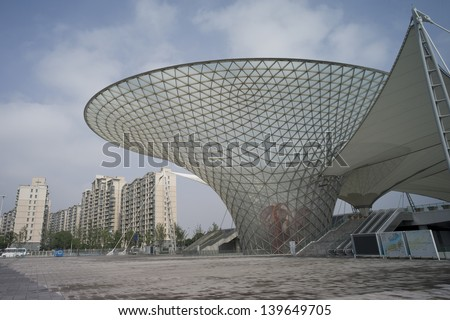 SHANGHAI, CHINA - MAY 20: The futuristic building on the Expo Boulevard in World Exposition on May 20, 2010 in Shanghai, China. Shanghai expo is the most popular Expo in the history. - stock photo