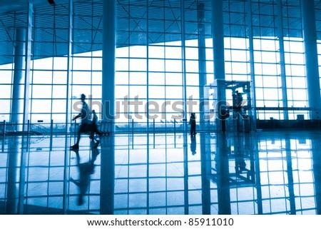 Shanghai, China, modern airport terminal - stock photo