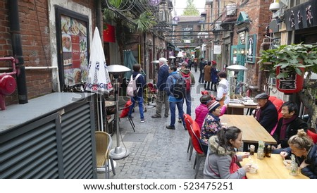 Shanghai, China - Nov, 25 2016: Well-known tourist destination, Tian Zi Fang Street, Shanghai