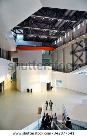 SHANGHAI, CHINA -15 NOVEMBER 2015- Housed in a former power plant on the site of the Expo 2010, the Power Station of Art is a contemporary art museum in Shanghai, China.