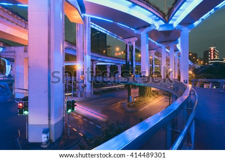 Shanghai, China - Oct 4, 2015:  Elevated Highway at night with light trails in Shanghai, China.