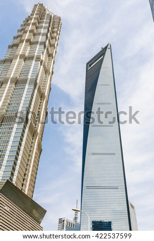 Shanghai, China - on April 8, 2016??Shanghai commercial center scenery?Shanghai world Financial Center and Jin Mao Tower, They are the tallest buildings in Shanghai.