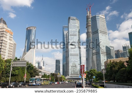 SHANGHAI, CHINA - SEP 17: Modern Architecture on Sep 17, 2013 in Shanghai, Shanghai is a global financial center and the world's busiest container port. - stock photo