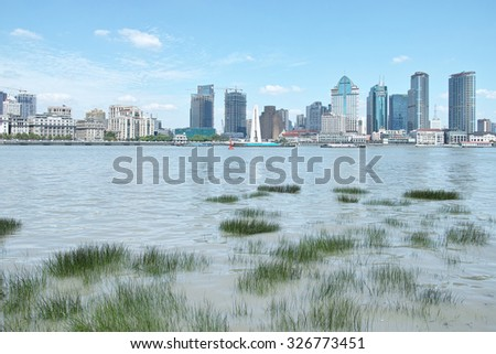 Shanghai, China -Sept. 10, 2015: beautiful shanghai bund viewed from Pudong Bingjiang Park, wild water plants cover the huangpu river.