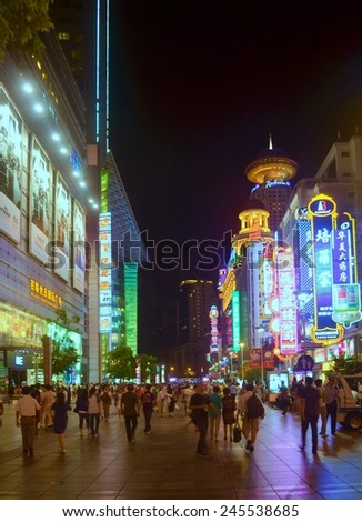 SHANGHAI, CHINA, SEPTEMBER 1, 2013: people are walking through nanjing road in shanghai, which is the main shopping boulevard in the city.