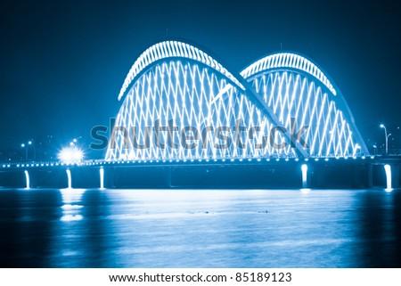 Shanghai, China, the night of the bridge and heavy traffic - stock photo