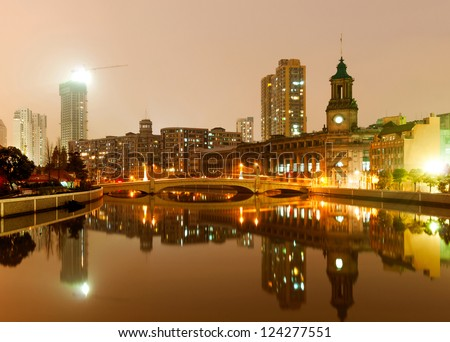 Shanghai, China, the old city night scene - stock photo