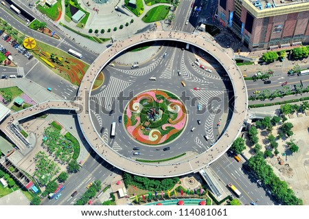 Shanghai city aerial view with street roundabout. - stock photo