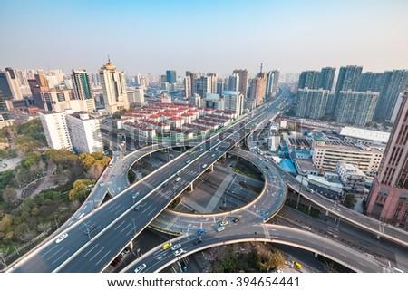 shanghai city interchange in the morning , urban traffic concept - stock photo