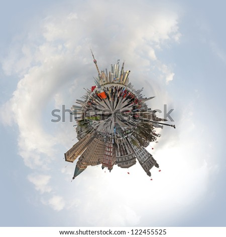 Shanghai city panoramic tiny planet. - stock photo