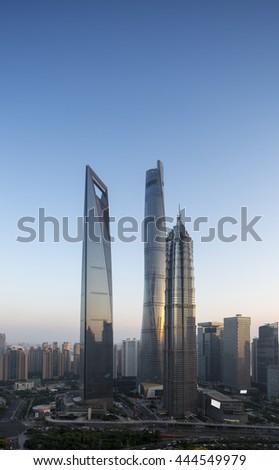 Shanghai city skyline,shot by tilt shift lens - stock photo