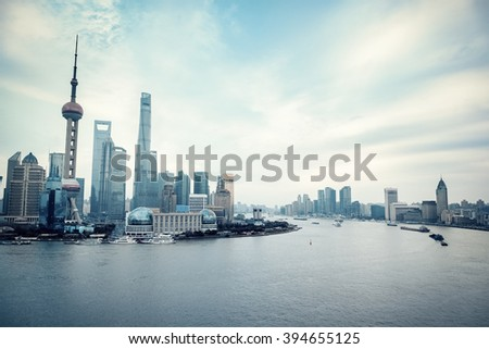 shanghai cityscape of huangpu river and pudong skyline - stock photo