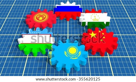 Shanghai Cooperation Organisation association of six national economies members flags on cog wheels.