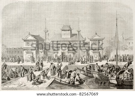 Shanghai customhouse, old illustration. Created by Grandsire after Trevise, published on Le Tour du Monde, Paris, 1860