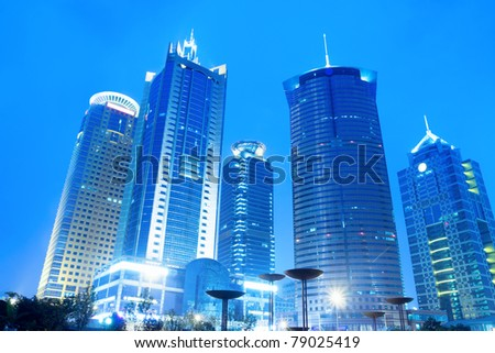 shanghai financial centre with modern building skyline,China. - stock photo