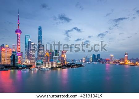 shanghai in nightfall, beautiful metropolitan cityscape , China  - stock photo