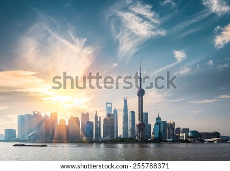 shanghai in sunny morning ,  huangpu river and pudong skyline - stock photo