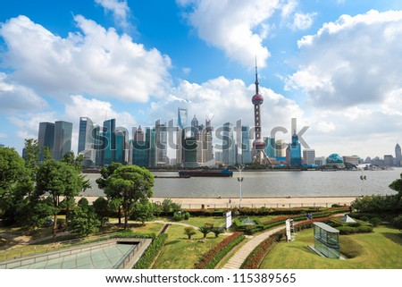 shanghai landscape in the north bund greenbelt - stock photo
