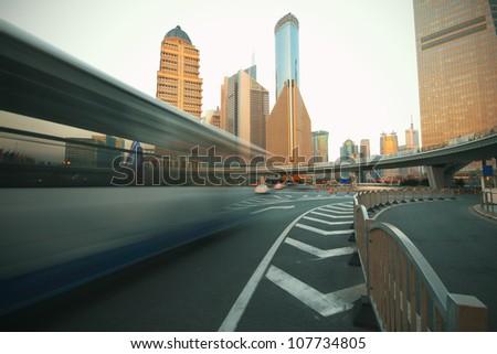 Shanghai lujiazui city landmark background highway of traffic - stock photo