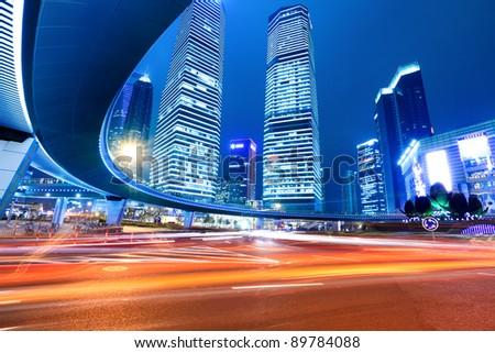 shanghai lujiazui downtown at night - stock photo
