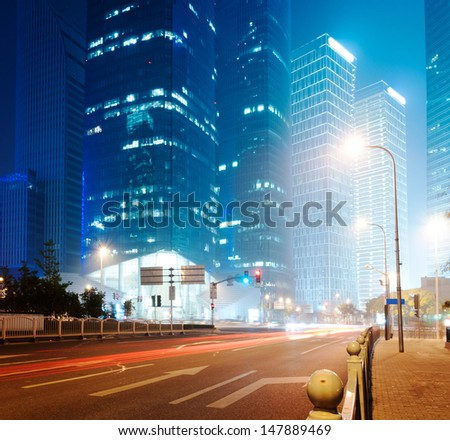 Shanghai Lujiazui Finance & Trade Zone modern city night background   - stock photo