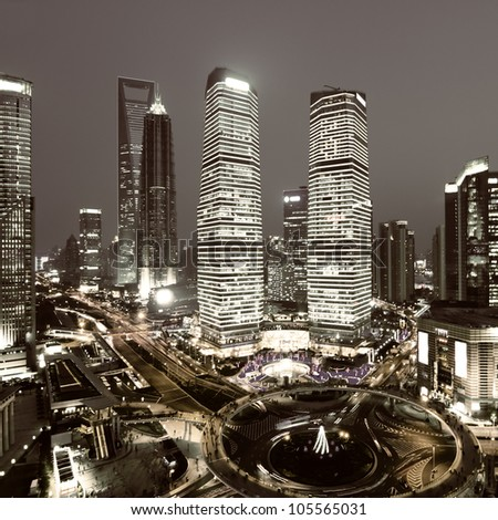 shanghai lujiazui financial center in the evening - stock photo