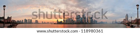 Shanghai morning city skyline silhouette panorama over river - stock photo