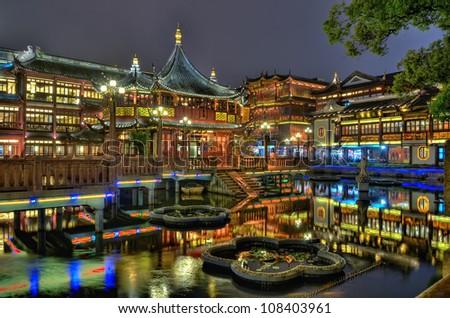 Shanghai Old Tea House in Yu Yuan Garden at night, China - stock photo