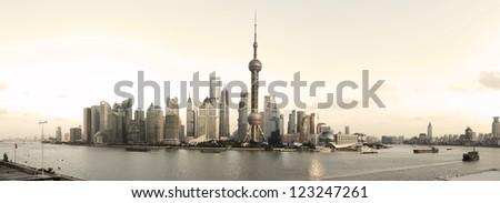 Shanghai panoramic photo skyline of reminiscence of reminiscence,(Panoramic photo) - stock photo