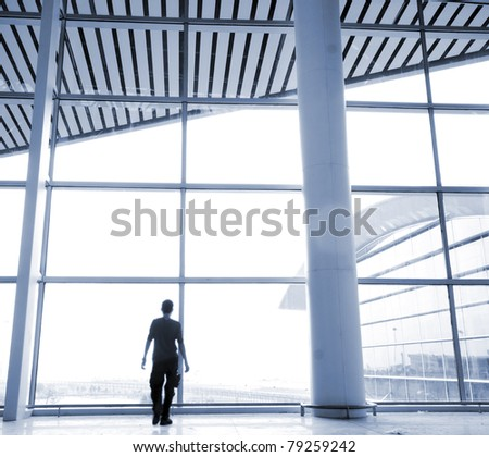 Shanghai Pudong Airport Interior Architecture - stock photo