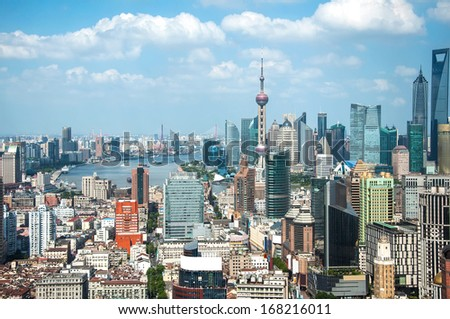 Shanghai Pudong city building - stock photo