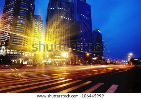 Shanghai Pudong road light trails