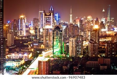 Shanghai Pudong skyline at night - stock photo