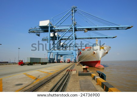 Shanghai Pudong Waigaoqiao Shanghai Hudong Container Terminal - stock photo