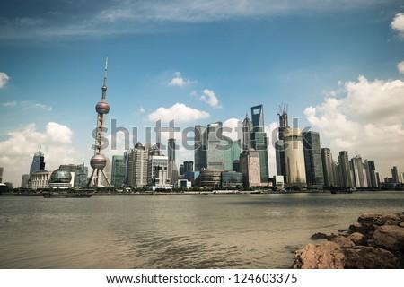 shanghai scenery with skyline in the bund riverside - stock photo