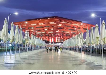 SHANGHAI - SEPT 1: WORLD EXPO China Pavilion. Sept 1, 2010 in Shanghai China - stock photo