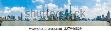SHANGHAI-September 24, 2015 Oriental Pearl Tower on blue sky background.Tower 470 meter the Oriental Pearl is one of Shanghai's tallest buildings, at Lujiazui finance and trade zone in Pudong