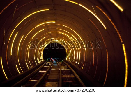 Shanghai sight seeing tunnel  under Huangpu  river - stock photo