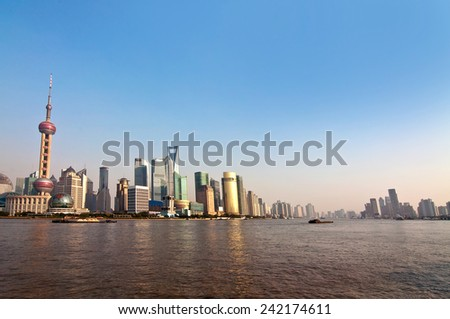 Shanghai skylight and the Huangpu river by daylight, China - stock photo