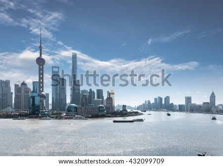 shanghai skyline against a blue sky ,China