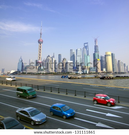 Shanghai skyline and highway