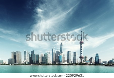 Shanghai skyline and sunny day - stock photo