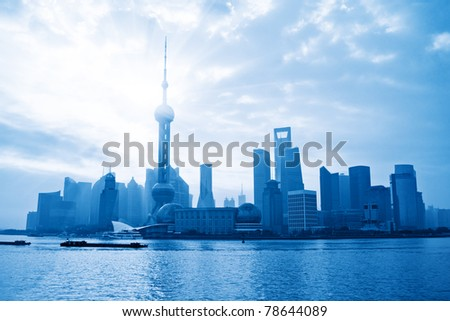 shanghai skyline at morning,China - stock photo