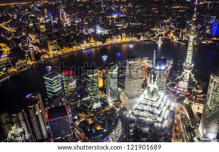 Shanghai skyline at night from on top of the World Financial Center in Pudong