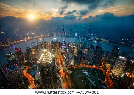 Shanghai skyline cityscape, Aerial view of shanghai, shanghai lujiazui finance and business district trade zone
