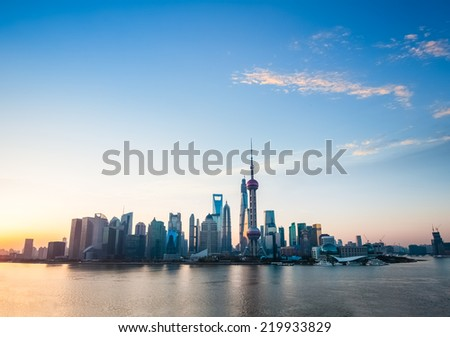 shanghai skyline in sunrise - stock photo