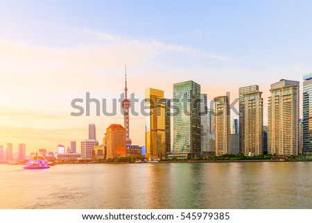 Shanghai skyline on the Huangpu River at sunset,China
