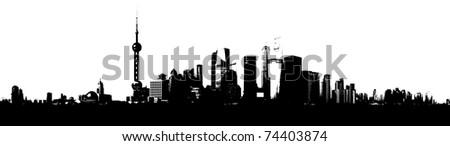 Shanghai Skyline Silhouette - stock photo
